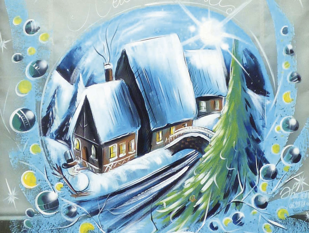 Peinture Vitrine Paysage Noel Design Graphique