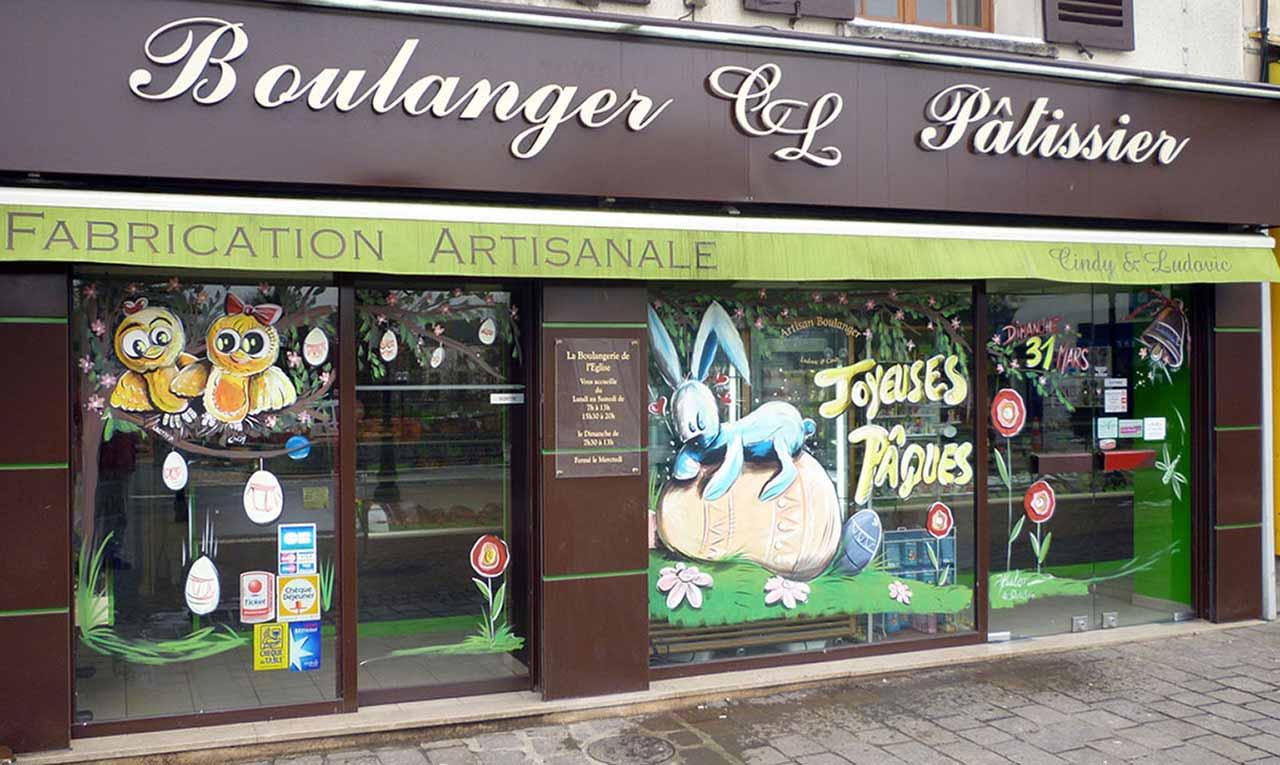 Boulangerie p ques peinture sur vitrine boulangerie peinture - Decoration paques vitrine ...