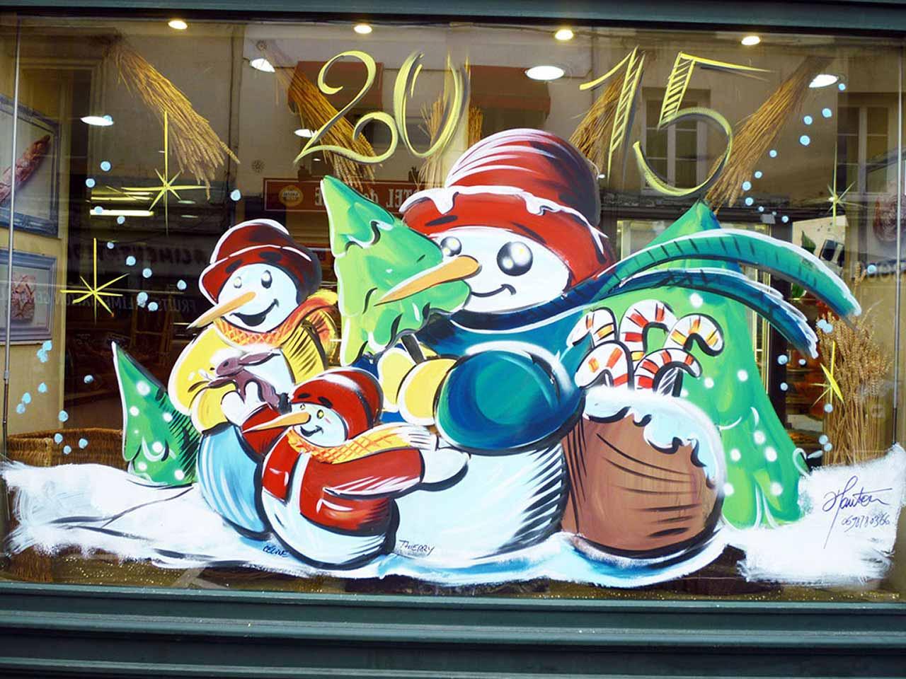 Vitrine no l 12 peinture for Decoration fenetre noel peinture