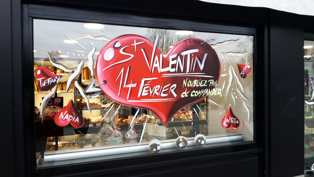 Association 4 peinture - Deco st valentin vitrine ...