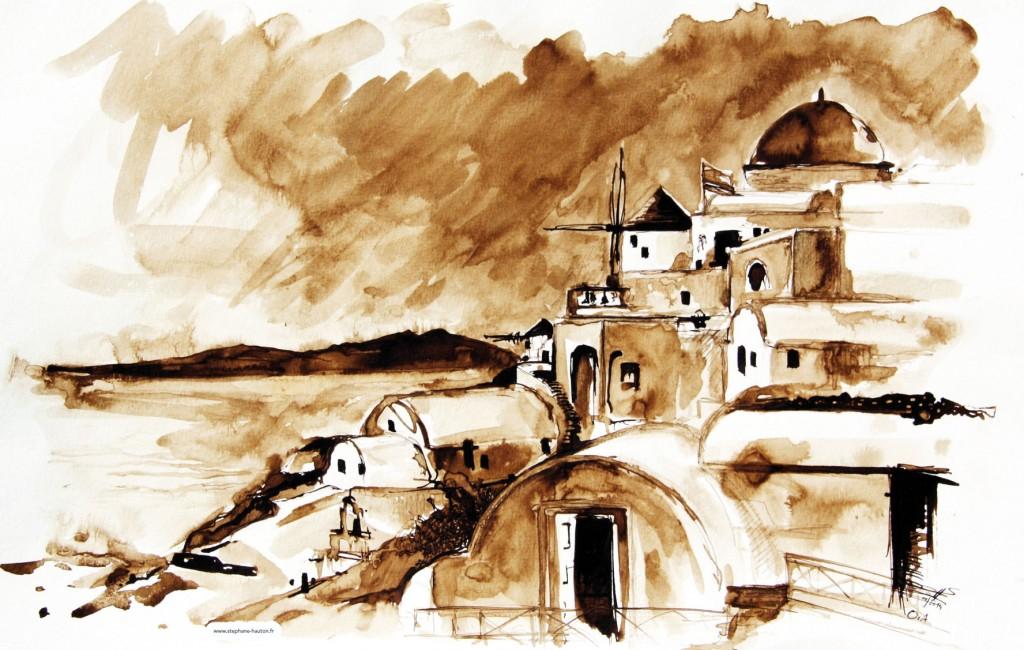 Lavis aquarelle au brou de noix - Hauton | Peinture
