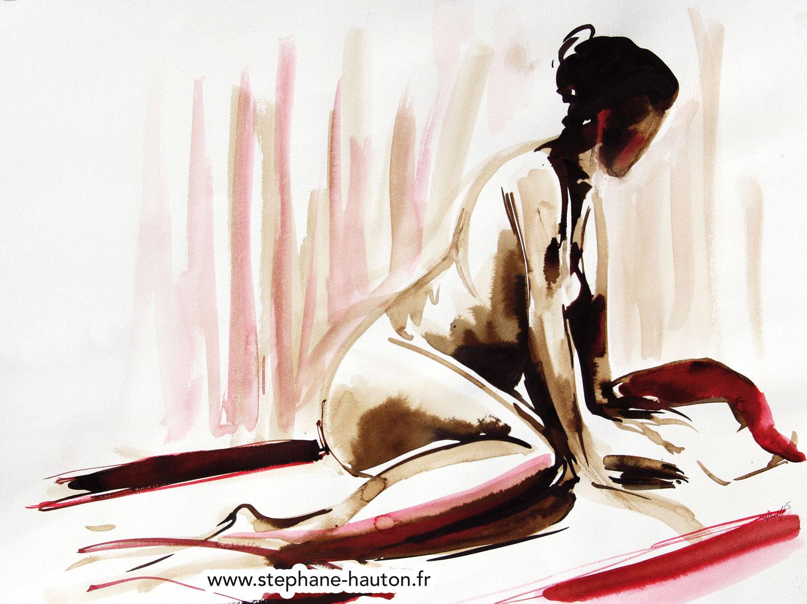 Video Nu Aquarelle Lavis Encre Hauton Peinture