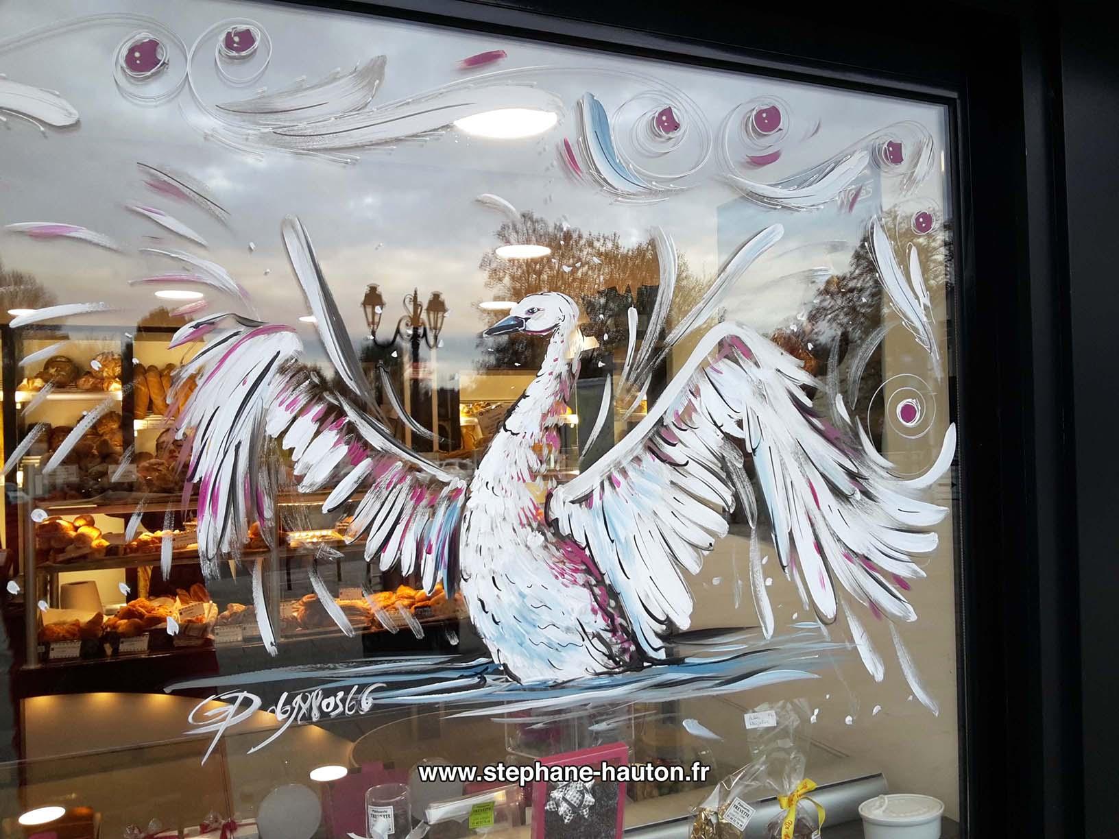 Peinture sur vitrine commerces et associations 2016   Peinture