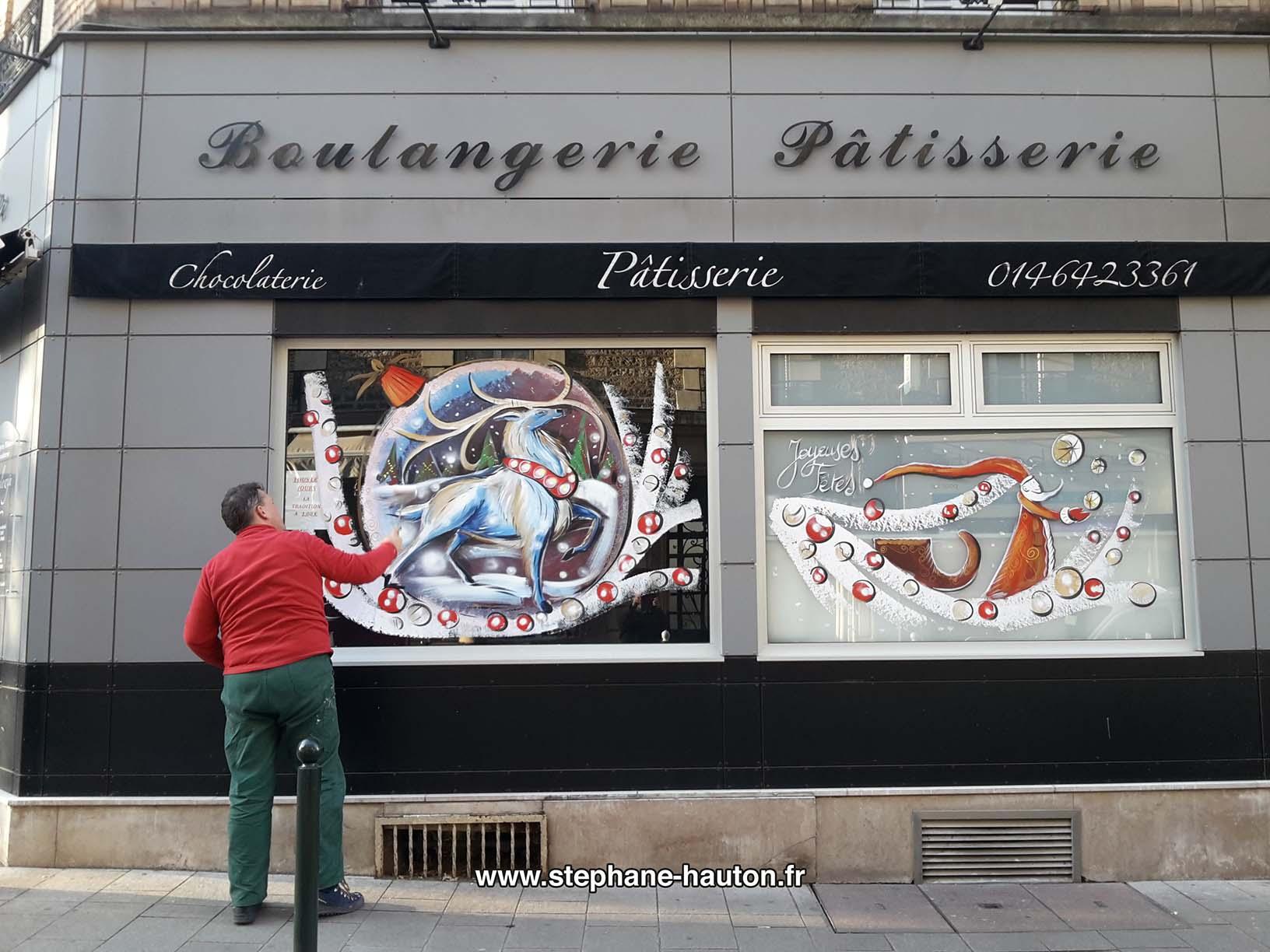 Peinture sur vitrine commerces et associations 2016 peinture - Decoration boulangerie patisserie ...