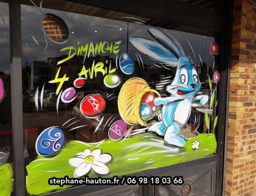 Peinture décoration animations vitrine pour pâques
