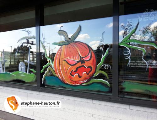 Peinture sur vitrine  en décoration pour Halloween